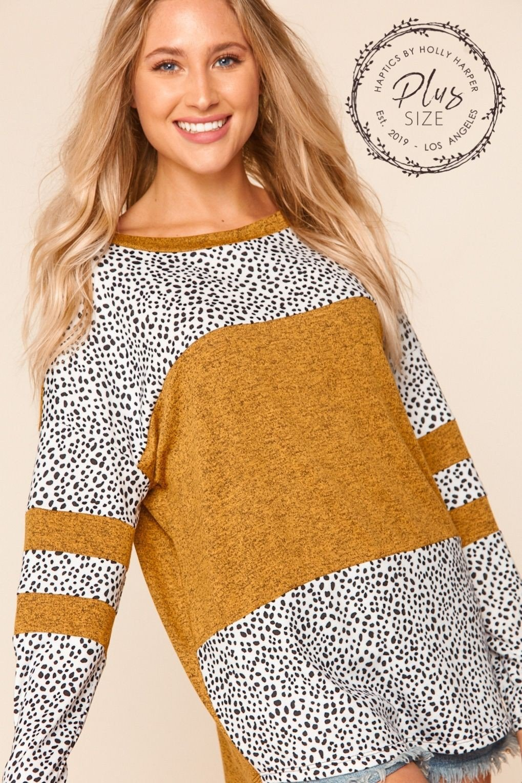 PLUS MUSTARD TWO TONE HACCI ANIMAL PRINT BLOUSE