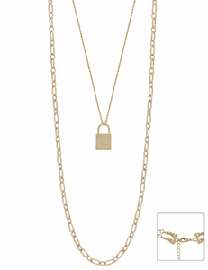 Big Lock & Chain Layered Necklace with Gold Stud Earrings