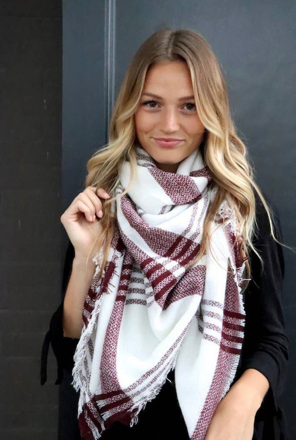 Red Woven Blanket Scarf