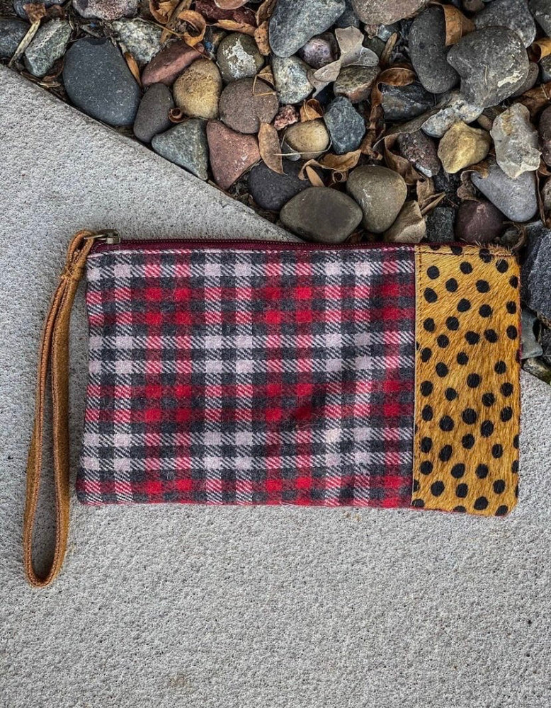 Leopard and plaid wristlet