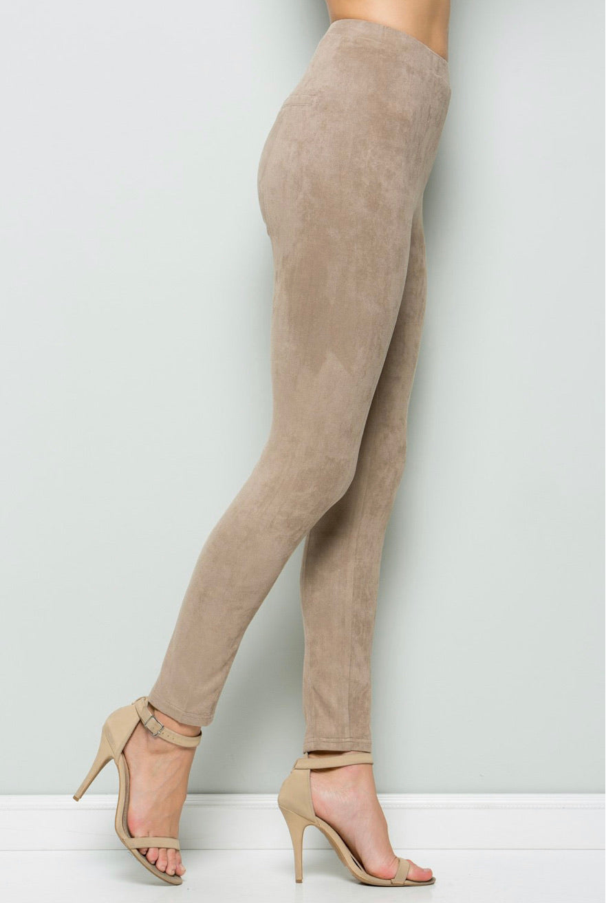 High-Waisted Faux Suede Leggings