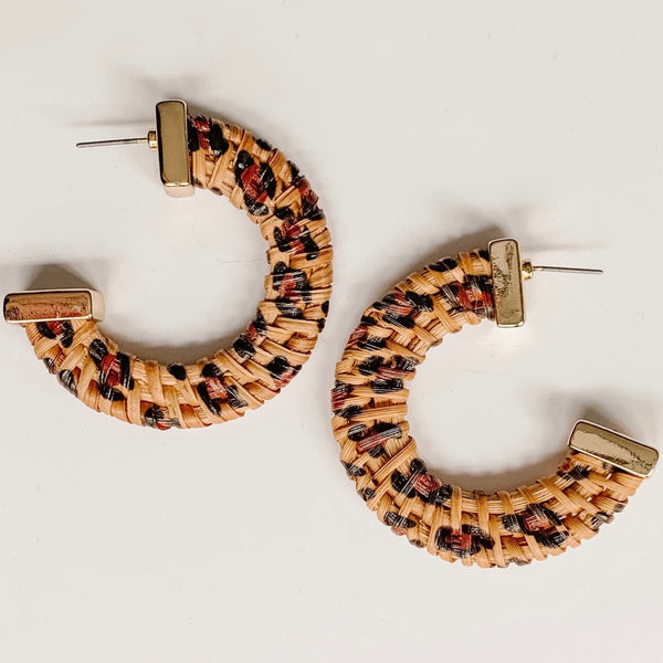 Wicker Animal Print Hoops
