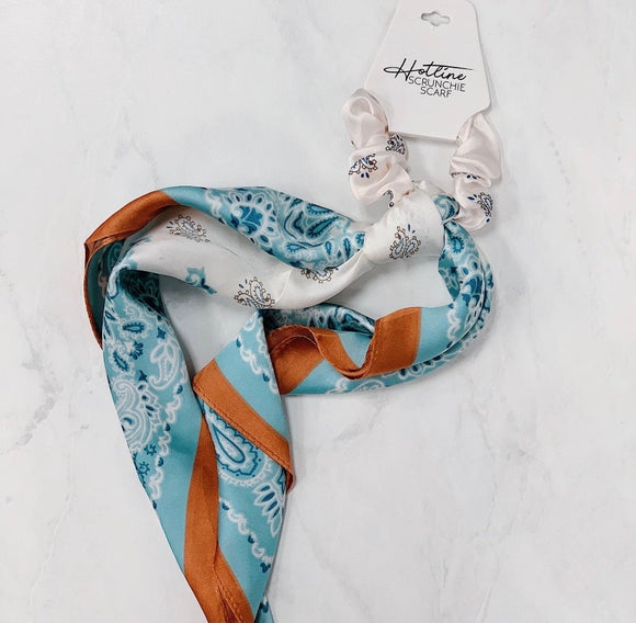 Mint & Rust Scrunchie Scarf