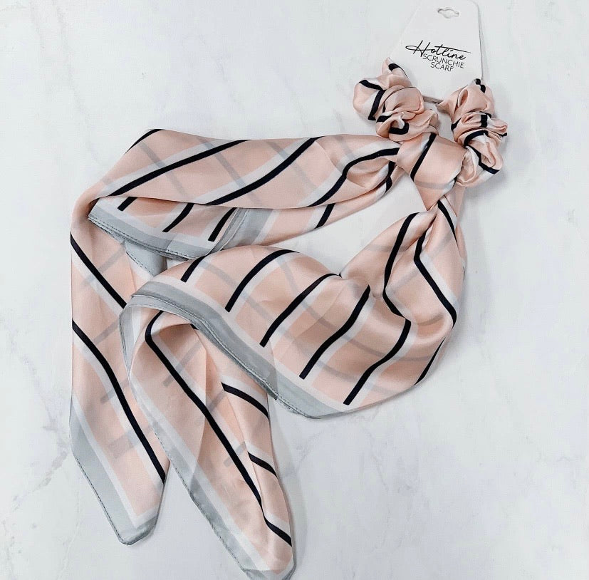 Blush & Navy Striped Scrunchie Scarf