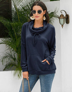 Navy Cowl Neck Sweater