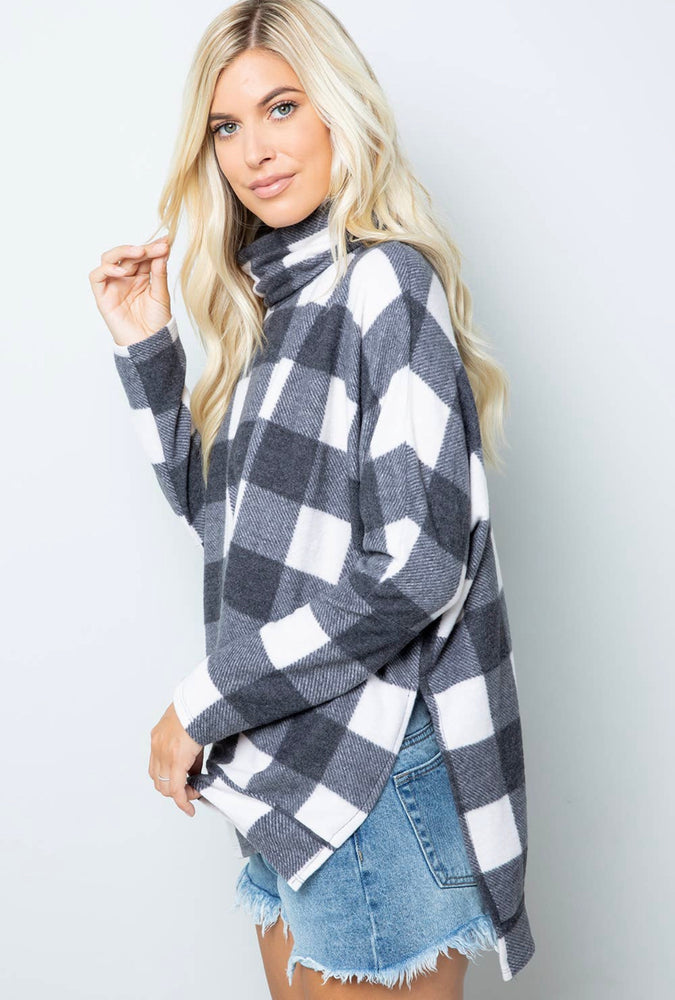 Plaid Turtle Pullover Sweater
