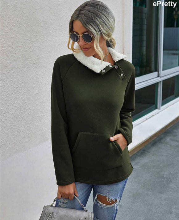 Olive Fuzzy Pullover