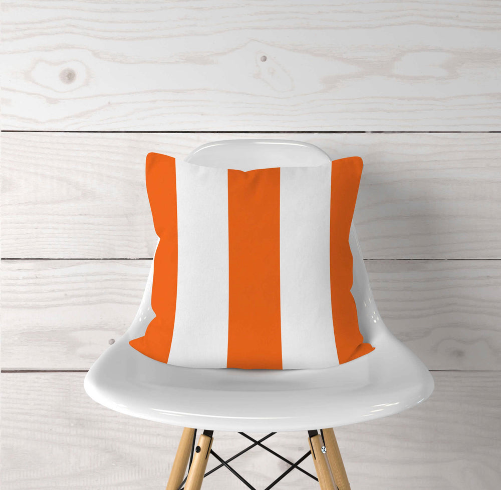 Orange Striped Pillow Cover