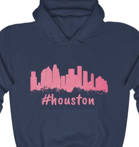 #Houston Pink Skyline Unisex Heavy Blend™ Hooded Sweatshirt