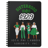 Iota Phi Lambda Sisterhood Since 1929 Black Spiralbound Notebook