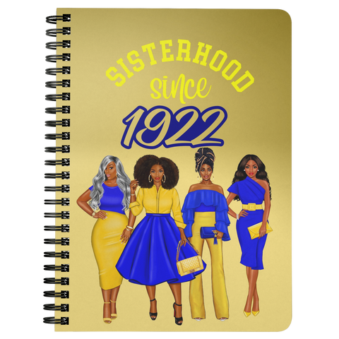 Sisterhood Since 1922 - Spiral Bound Notebook (Gradient Gold)