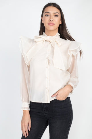 Neck Bow Tie Ruffle Blouse