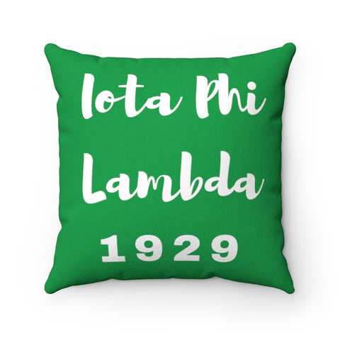 Green Iota Phi Lambda 1929 Spun Polyester Square Pillow
