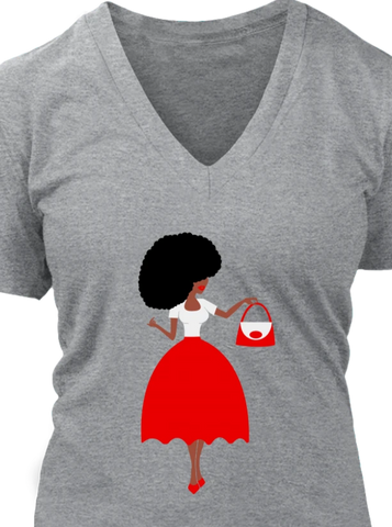 Red & White Afro Sis V-Neck Tee