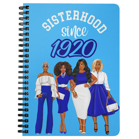 Sisterhood Since 1920 - Spiral Bound Notebook (Gradient Sky Blue)