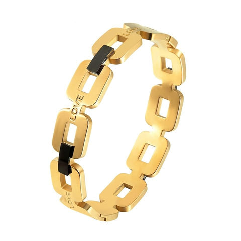 Rectangular Circle Cuff Bangle