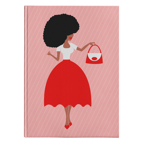 Red & White Afro Sis Hardcover Journal
