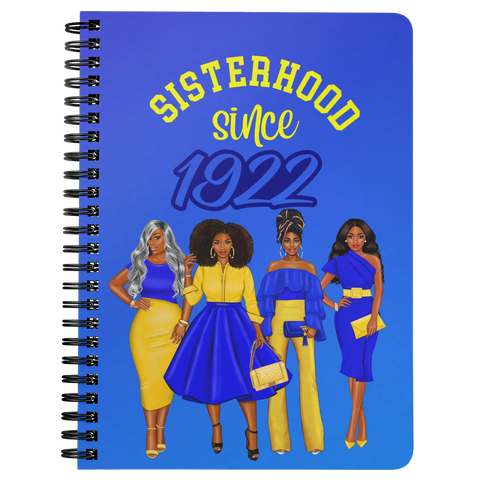 Sisterhood Since 1922 Spiral Bound Notebook (Gradient Royal Blue)