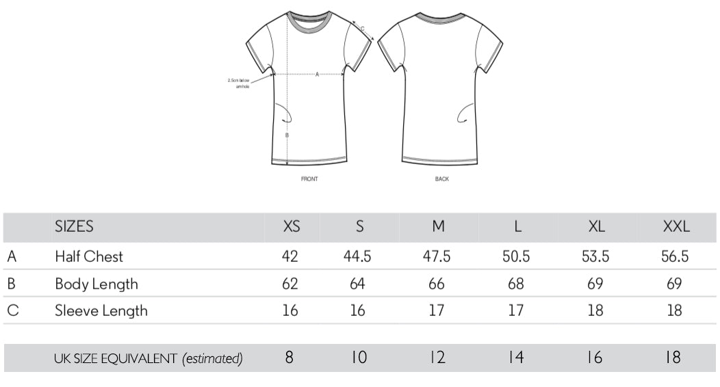 Compers News - Women's T-shirt Sizes