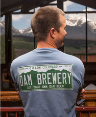 Dillon Dam Brewery Get Your Own Dam Beer Colorado License Plate T-Shirt