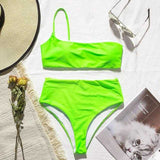 One Shoulder Bikini Top and High Cut Bikini Bottom Set | Swimwear - Foxxychick
