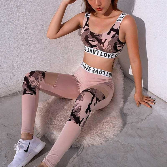 Two Piece Set Camouflage Print Sports Bra and Pants, [variant_title] - Foxxychick