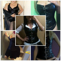 Gothic Overbust Corset - Faux Leather 9840 | Waist Trainer - Foxxychick
