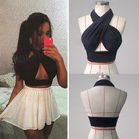 Strappy Cross Over Halter Neck Sleeveless Crop Top | Sexy Tops - Foxxychick