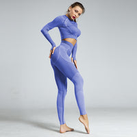 Two Piece Set Hollow-Out Back Long Sleeve Sports Top and Pants | Sportswear - Foxxychick