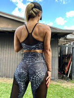 Two Piece Set Spider Web Print Mesh Sports Bra and Pants | Sportswear - Foxxychick