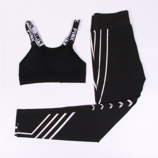 Two Piece Set Sports Bra and Night Glowing Pants | Sportswear - Foxxychick