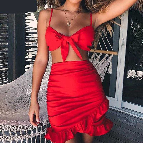 Two-Pieces Ruffles Beach Dress | Sexy Dresses - Foxxychick