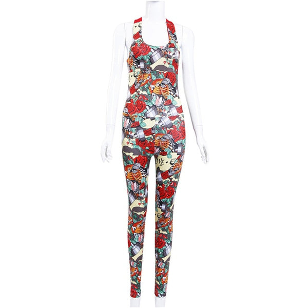 Crossover Back Floral Print Jumpsuit | Sportswear - Foxxychick
