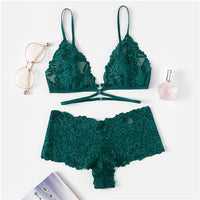 Green Floral Lace Bra and Underwear Set | Lingerie - Foxxychick