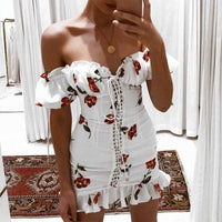 Lace Up Off Shoulder Floral Dress | Sexy Dresses - Foxxychick