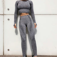 Two Piece Set Long Sleeve Sports Top and Seamless Pants | Sportswear - Foxxychick