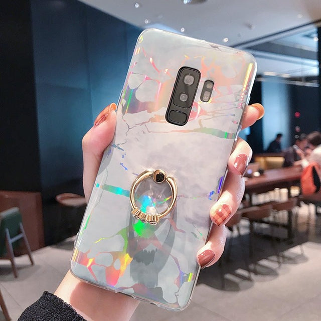 Laser Marble Case For Samsung S8 S9 S10 Plus Note 8 9 Soft TPU Cover - Actual Phone Case