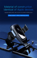 Car phone holder 10w qi wireless charger for iPhone Samsung - Actual Phone Case