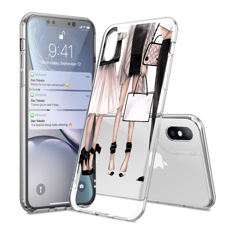 Girl Pattern Case For iPhone 8 Plus 11 Pro Max 11 X XR XS MAX - Cheap Phone Case
