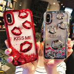 "3D ""KISS ME"" Quicksand Cover For iPhone X 8 Xs Max Xr 7 7Plus 8 8Plus - Cheap Phone Case"