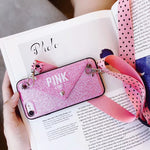 Luxury PINK Glitter Embroidery Case for iPhone 11 Pro Max 7 8 Plus XS Max X - Cheap Phone Case