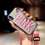 Luxury PINK Glitter Embroidery Case for iPhone 11 Pro Max 7 8 Plus XS Max X - Actual Phone Case