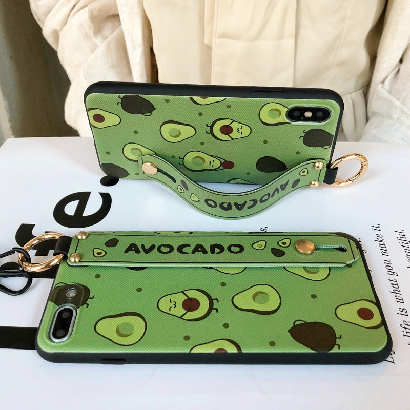Case For iphone7 8 6 6s plus Fruit Avocado Soft Neck Wrist Strap - Actual Phone Case