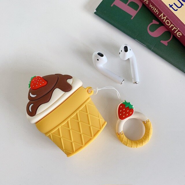 For AirPods 2 Case Silicone Cute 3D Chocolate Beans Earphone Case - Actual Phone Case