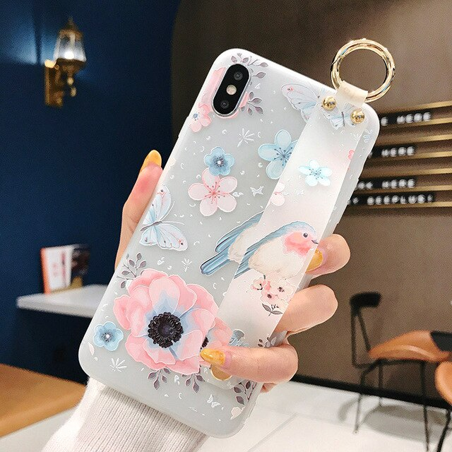 Flower Soft Wrist Strap Case For iphone 7 8 6 6s plus Case Cover - Cheap Phone Case