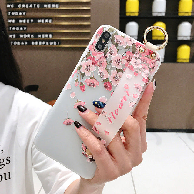 Flower Soft Wrist Strap Case For iphone 11 Pro Max X Xs max XR Case - Cheap Phone Case