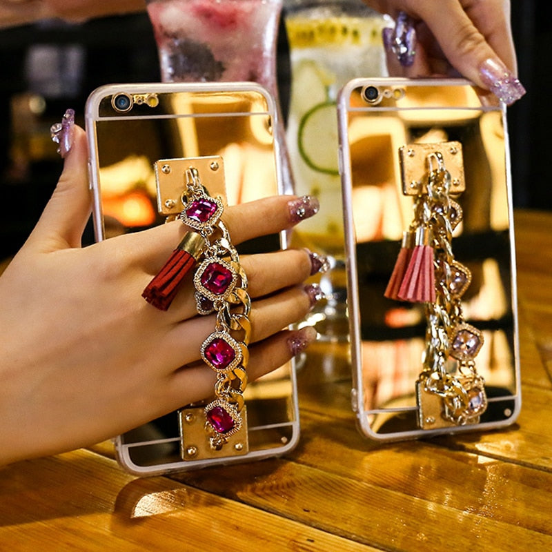 Case For iPhone 11 Pro Max XS MAX XR 8 7 Plus Case Rhinestone Bracelet - Actual Phone Case