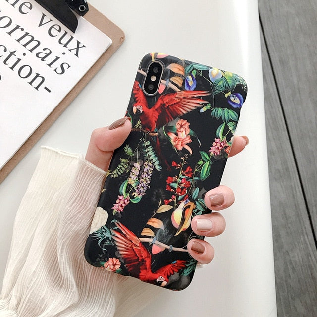 Luxury Printing Leaves Case Cover For iPhone 6 6s 7 8 Plus Soft Flower - Actual Phone Case