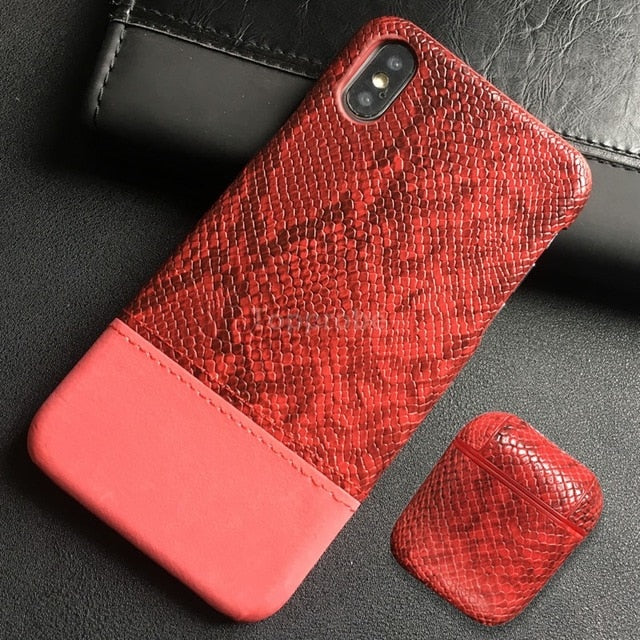 Snake Skin Leather Phone Case For iphone 11 Pro XS Max XR 8 Plus X - Actual Phone Case