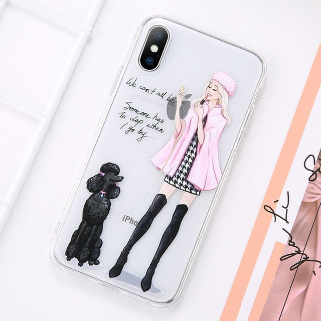 Girl Pattern Case For iPhone 8 Plus 11 Pro Max 11 X XR XS MAX - Actual Phone Case